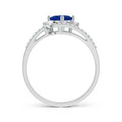 Toggle Oval Blue Sapphire and Diamond Wedding Band Ring Set