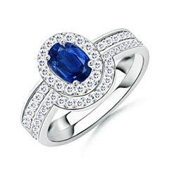Sapphire Bridal Ring Set with Diamond Halo