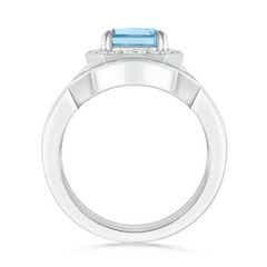 Toggle Emerald Cut Aquamarine Bridal Ring Set with Diamond Band