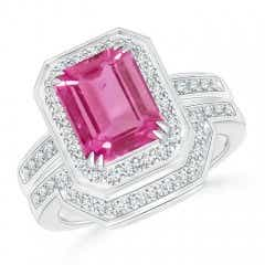 Emerald Cut Pink Sapphire Bridal Ring Set with Diamond Band