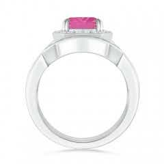 Toggle Emerald Cut Pink Sapphire Bridal Ring Set with Diamond Band