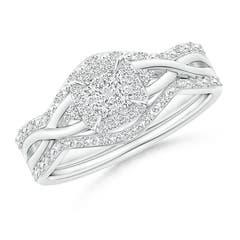 Interlaced Quad Diamond Cushion Halo Bridal Set