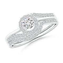 Angara Bead-Set Composite Diamond Pear Halo Bridal Set o83RCF18qT