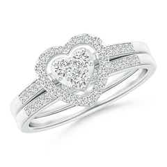 Floating Trio Diamond Heart Halo Bridal Set