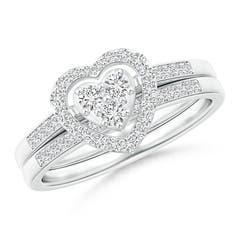 Floating Trio Diamond Heart Halo Bridal Set