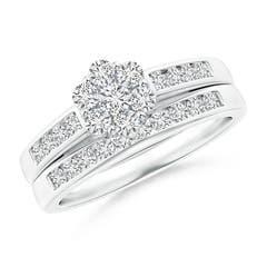 Pressure Set Diamond Cluster Bridal Set