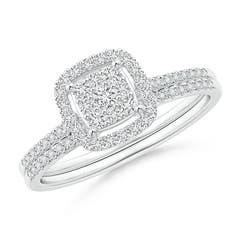 Composite Diamond Floating Cushion Halo Bridal Set