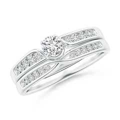 Flat Prong-Set Solitaire Diamond Twist Bridal Set