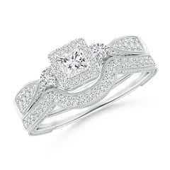 Milgrain Laced Princess-Cut Diamond Halo Bridal Set