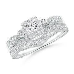 Milgrain Laced Princess-Cut Diamond Halo Bridal Set
