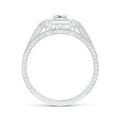 Toggle Milgrain Laced Princess-Cut Diamond Halo Bridal Set