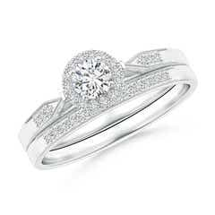 Tapered Milgrain Shank Diamond Halo Bridal Set