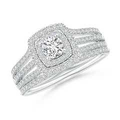 Pave-Set Cushion Halo Diamond Triple Shank Bridal Set