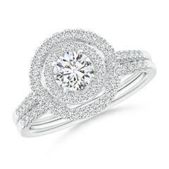 Round Diamond Floating Double Halo Bridal Set