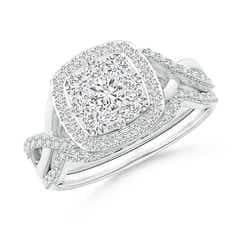 Entwined Infinity Diamond Cushion Cluster Halo Bridal Set