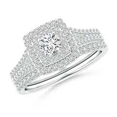 Double Halo Diamond Split Shank Bridal Set