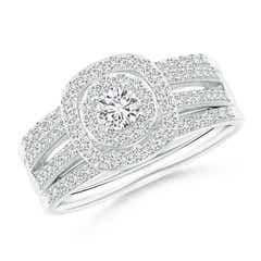 Triple-Shank Cushion Framed Round Diamond Halo Bridal Set