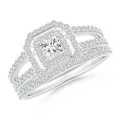 Princess-Cut Diamond Octagon Double Halo Bridal Set