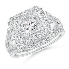Floating Princess-Cut Diamond Double Halo Bridal Set