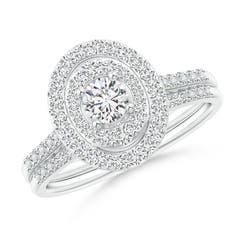 Round Diamond Double Oval Shaped Halo Bridal Set
