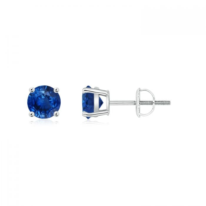 Angara Round Sapphire Stud Earrings in 14k Yellow Gold VfvwH9B