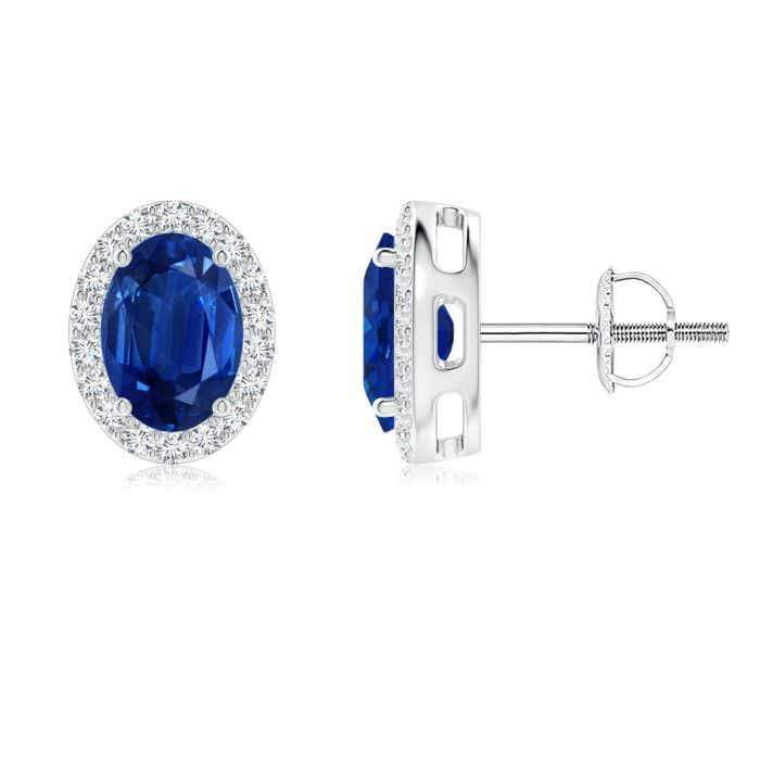 Angara Diamond Halo and Oval Opal Stud Earrings in White Gold