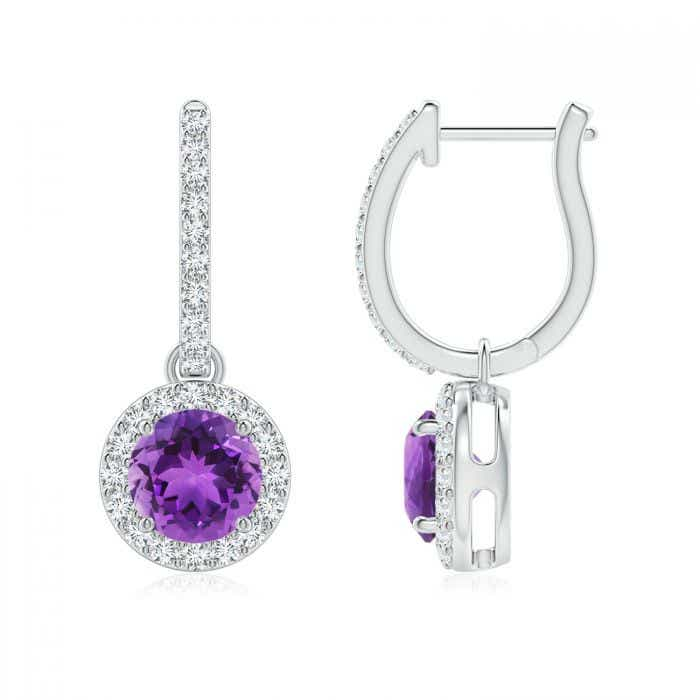 Round Amethyst Dangle Earrings With Diamond Halo Angara