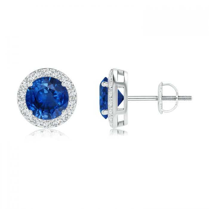 Angara Blue Sapphire and Diamond Halo Vintage Studs in White Gold ZZMy470