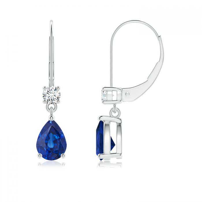 Angara Blue Sapphire Drop Earrings in White Gold irkuJjuOAn