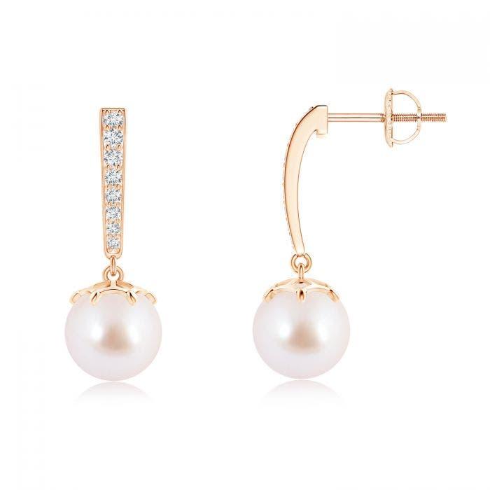 Angara Akoya Cultured Pearl Teardrop Earrings with Diamonds RwZXxR