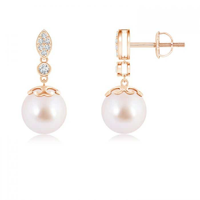 Angara Akoya Cultured Pearl Long Dangle Earrings