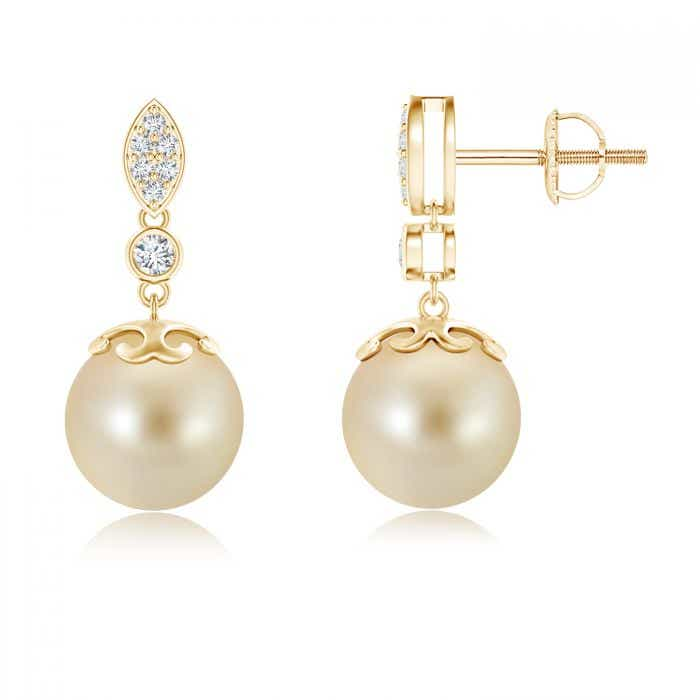 Angara South Sea Cultured Pearl Dangle Earrings with Wing Motif