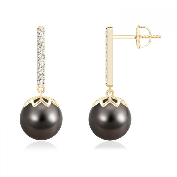 Angara Tahitian Cultured Pearl Drop Earrings with Bezel Diamonds in Rose Gold RJkbX