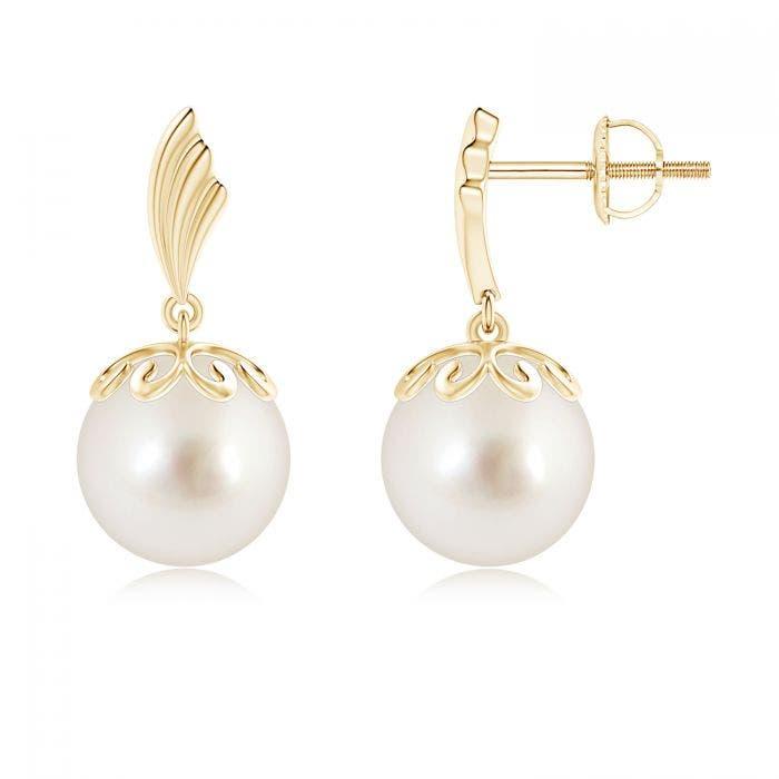 Angara Freshwater Cultured Pearl Dangle Earrings with Wing Motif BroaCXJl
