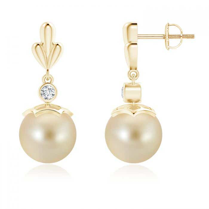 Angara Freshwater Cultured Pearl Dangle Earrings with Wing Motif zbm52