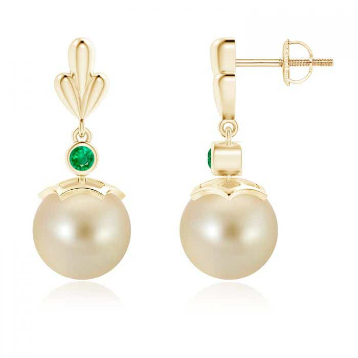 Angara Golden South Sea Cultured Pearl Earrings with Wing Motif cpokosjkW