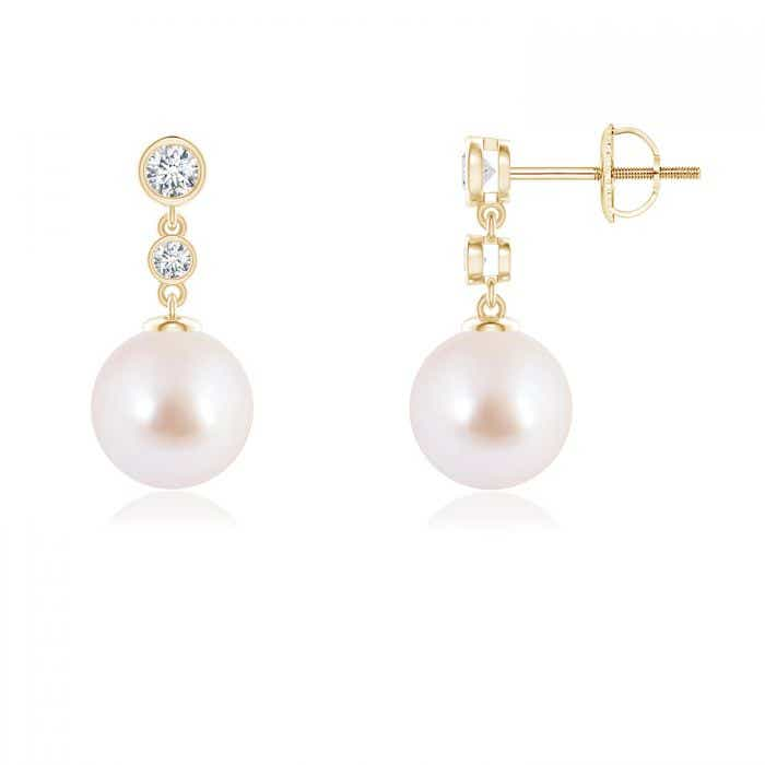 Angara Akoya Cultured Pearl Drop Earrings with Bezel Diamond ZgVe3RNKSc