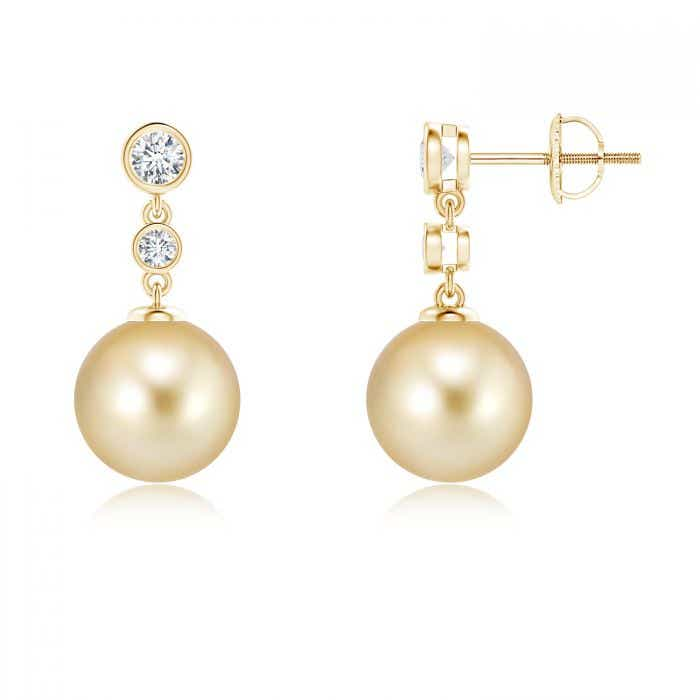 Angara Golden South Sea Cultured Pearl and Diamond Bar Drop Earrings
