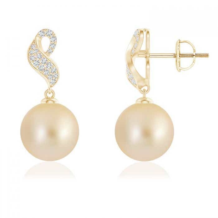 Angara Golden South Sea Cultured Pearl and Diamond Swirl Earrings H2rNXcD9