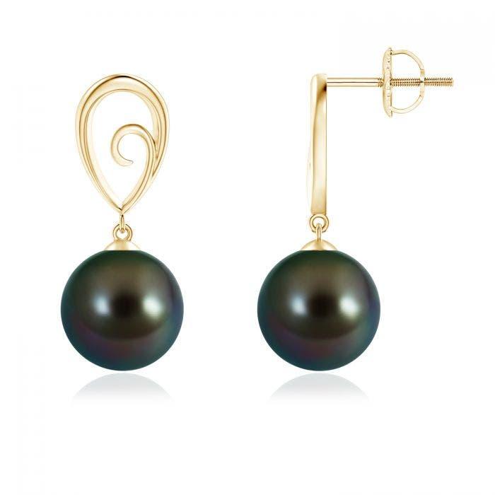 Angara Tahitian Cultured Pearl and Diamond Long Dangle Earrings iXn612r2IJ