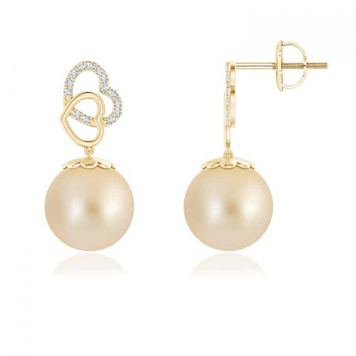 Angara Intertwined Heart South Sea Cultured Pearl Drop Earrings