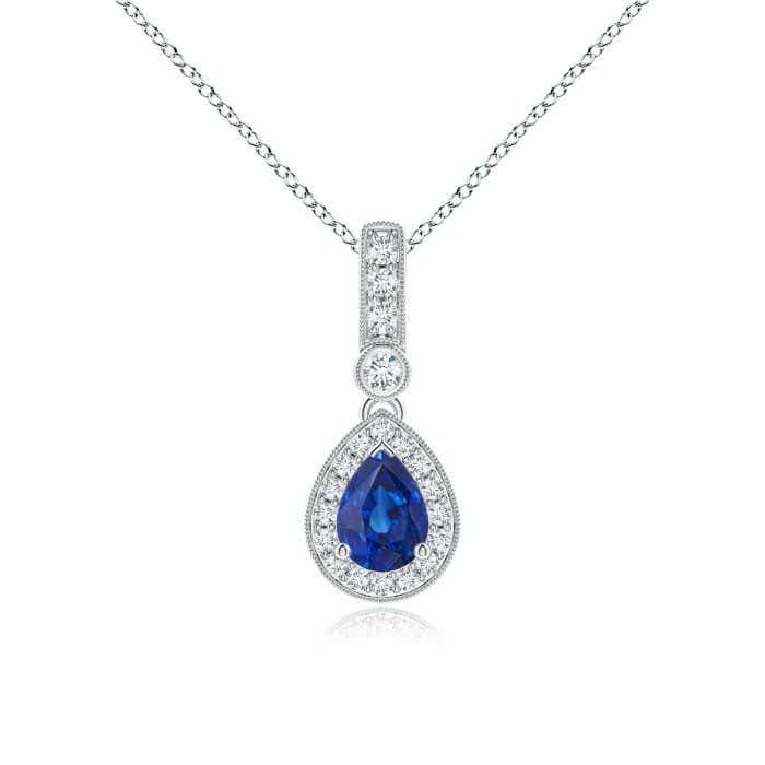 Angara Sapphire Drop Pendant in White Gold