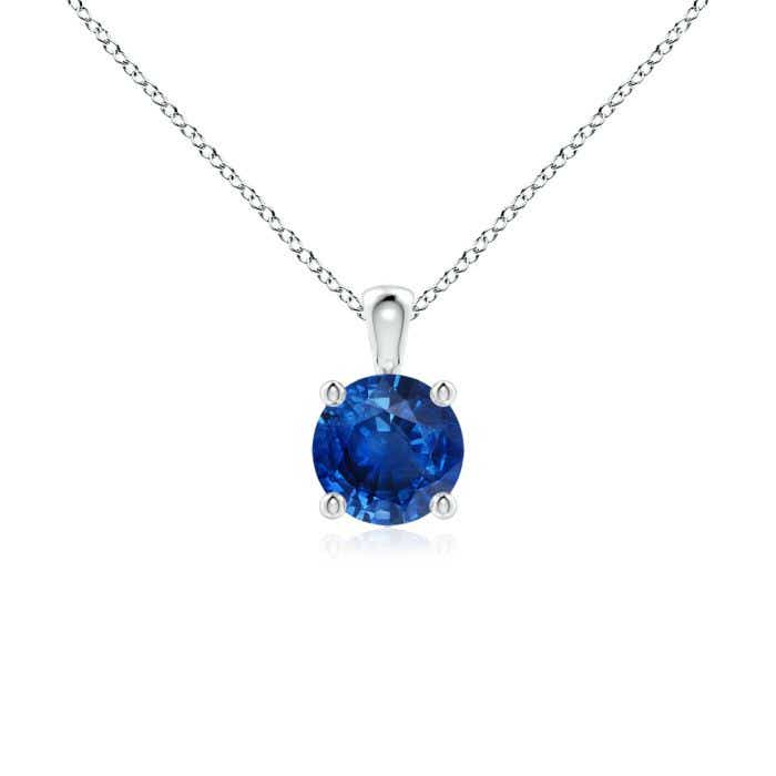 Angara Round Blue Sapphire Solitaire Pendant in 14k Rose Gold