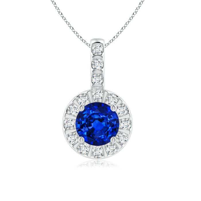 Angara Oval Blue Sapphire Halo Vintage Pendant in Rose Gold RC96iVMTvk