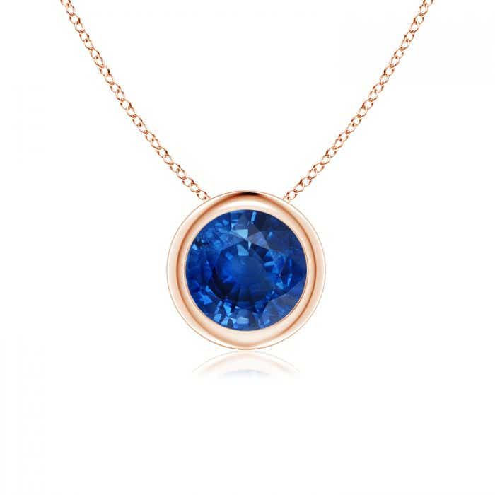Angara Round Blue Sapphire Solitaire Necklace in 14k White Gold