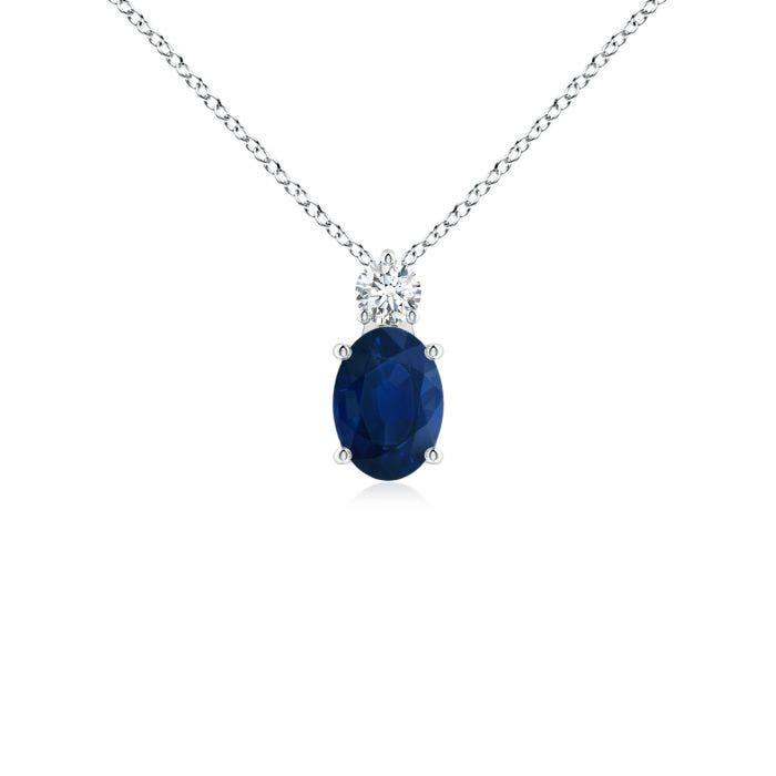 Angara Oval Blue Sapphire Halo Vintage Pendant in Platinum 9DwfX