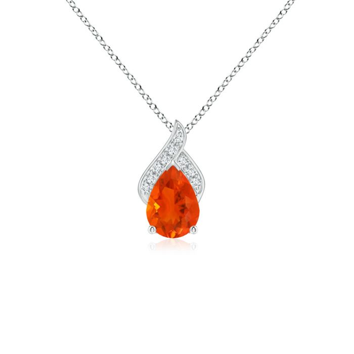 Details about  /Solitaire Round Fire Opal Infinity Twist Pendant in Silver//Gold//Platinum