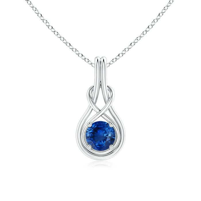 Angara Sapphire Knot Pendant in 14k Yellow Gold chEth