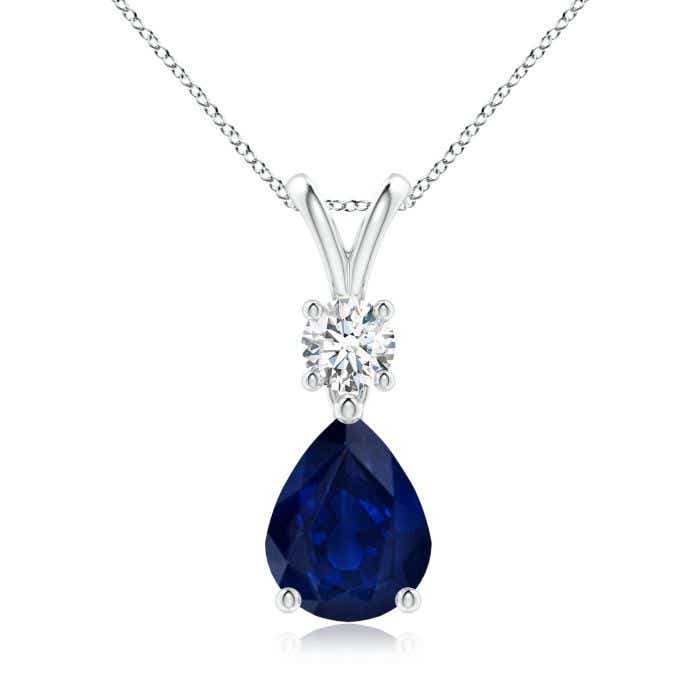 Angara Pear Shaped Blue Sapphire Drop Necklace in Yellow Gold GdsxP240eU