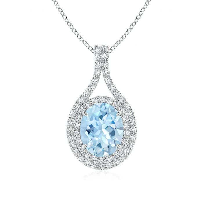 Angara Oval Aquamarine Double Halo Loop Pendant 8Nbb3z6L